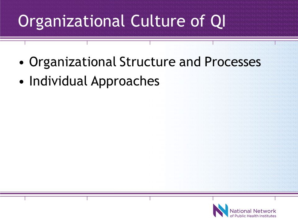 Organizational Culture of QI Organizational Structure and Processes Individual Approaches