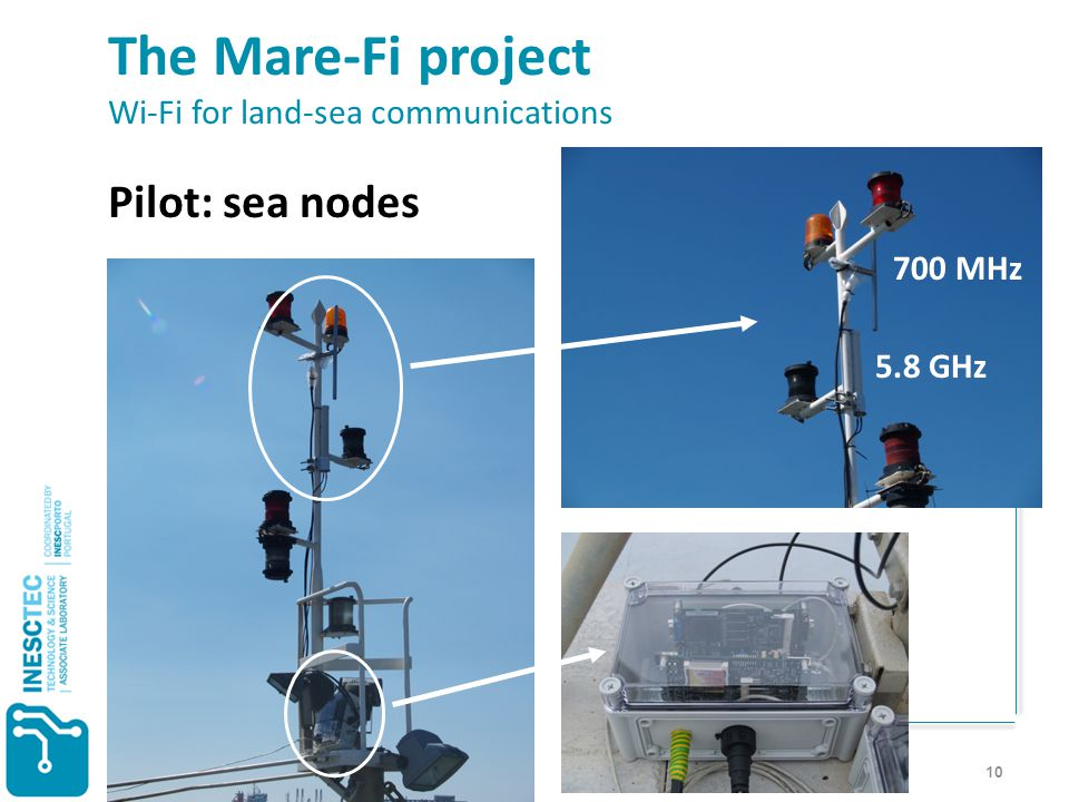 10 The Mare-Fi project Wi-Fi for land-sea communications Pilot: sea nodes < 200 € 700 MHz 5.8 GHz 700 MHz