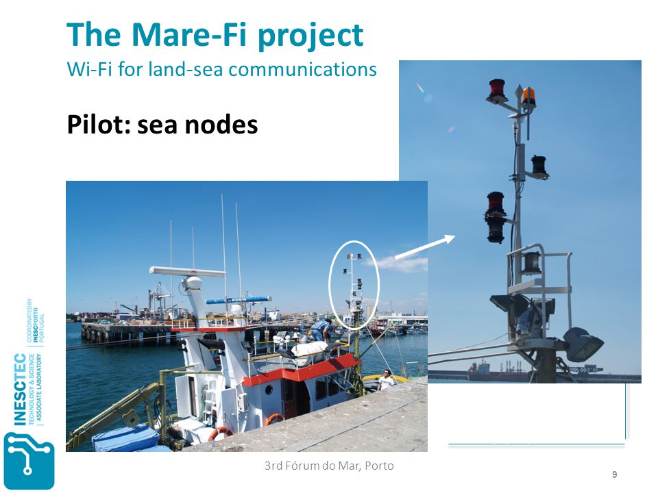 9 The Mare-Fi project Wi-Fi for land-sea communications Pilot: sea nodes < 200 € 700 MHz 5.8 GHz 3rd Fórum do Mar, Porto