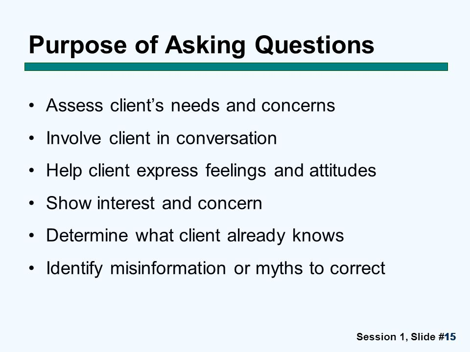 Session 1, Slide #1515 Purpose of Asking Questions Assess client's needs and concerns Involve client in conversation Help client express feelings and