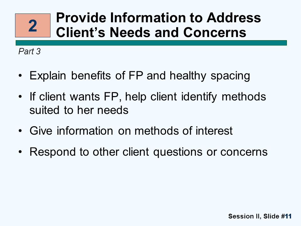 Session II, Slide #1111 Provide Information to Address Client's Needs and Concerns Part 3 Explain benefits of FP and healthy spacing If client wants F