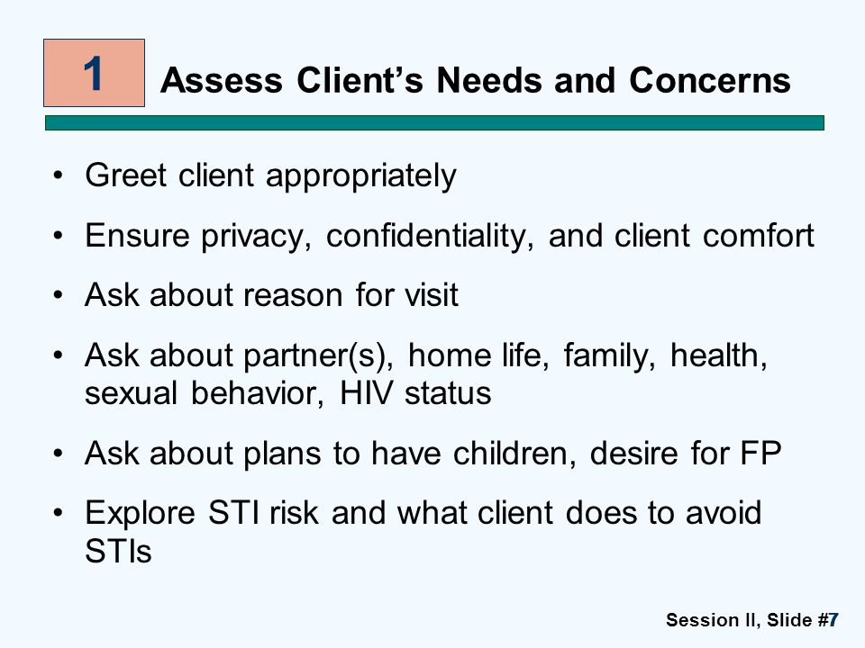 Session II, Slide #7777 Assess Client's Needs and Concerns Greet client appropriately Ensure privacy, confidentiality, and client comfort Ask about re