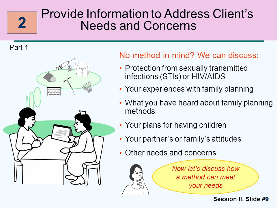 Session II, Slide #1010 Provide Information to Address Client's Needs and Concerns Part 2 Inform client when needs or concerns are beyond provider's capability Advise on how to prevent STIs Advise on how to have a healthy pregnancy (if client wants to become pregnant) 2