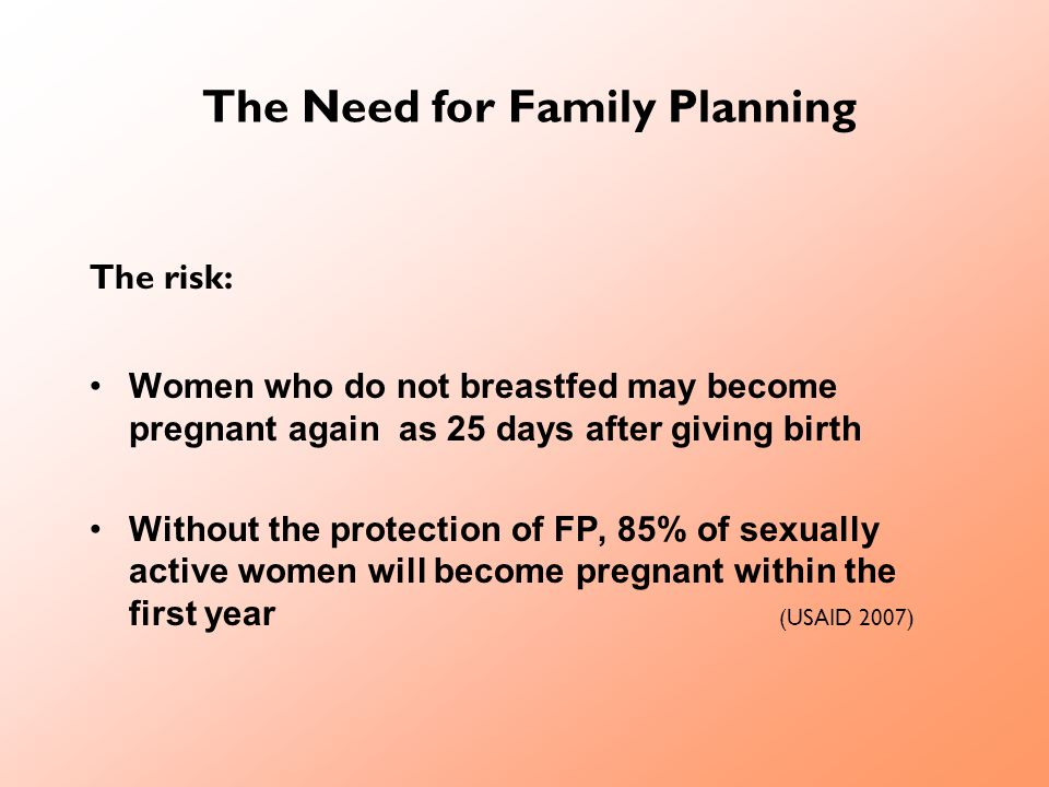 The Need for Family Planning The risk: Women who do not breastfed may become pregnant again as 25 days after giving birth Without the protection of FP