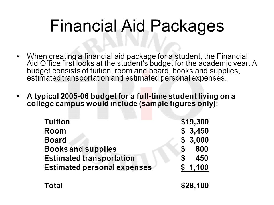Financial Aid Packages When creating a financial aid package for a student, the Financial Aid Office first looks at the student's budget for the acade