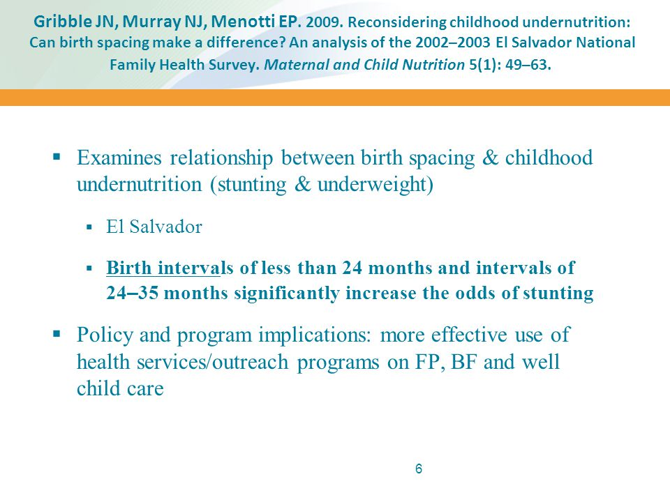 Gribble JN, Murray NJ, Menotti EP. 2009. Reconsidering childhood undernutrition: Can birth spacing make a difference? An analysis of the 2002–2003 El