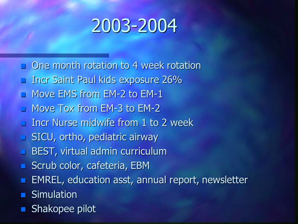 2003-2004 n One month rotation to 4 week rotation n Incr Saint Paul kids exposure 26% n Move EMS from EM-2 to EM-1 n Move Tox from EM-3 to EM-2 n Incr Nurse midwife from 1 to 2 week n SICU, ortho, pediatric airway n BEST, virtual admin curriculum n Scrub color, cafeteria, EBM n EMREL, education asst, annual report, newsletter n Simulation n Shakopee pilot