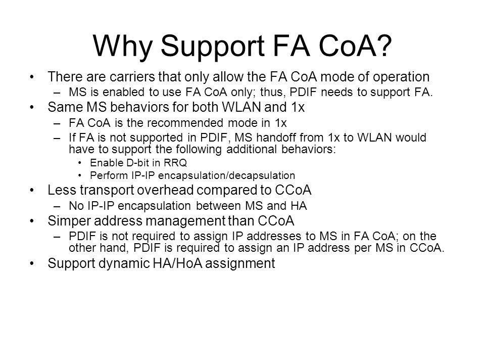 Why Support FA CoA.