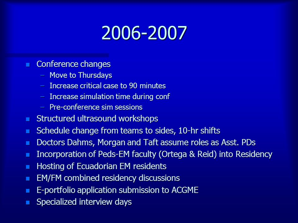 2006-2007 n Conference changes –Move to Thursdays –Increase critical case to 90 minutes –Increase simulation time during conf –Pre-conference sim sessions n Structured ultrasound workshops n Schedule change from teams to sides, 10-hr shifts n Doctors Dahms, Morgan and Taft assume roles as Asst.