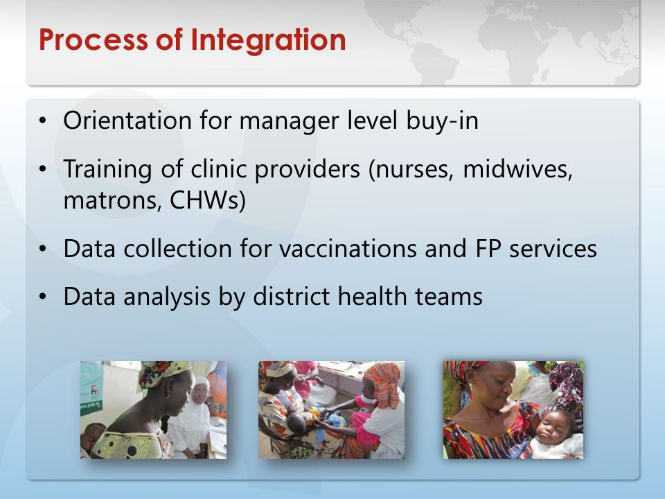 Process of Integration Orientation for manager level buy-in Training of clinic providers (nurses, midwives, matrons, CHWs) Data collection for vaccinations and FP services Data analysis by district health teams