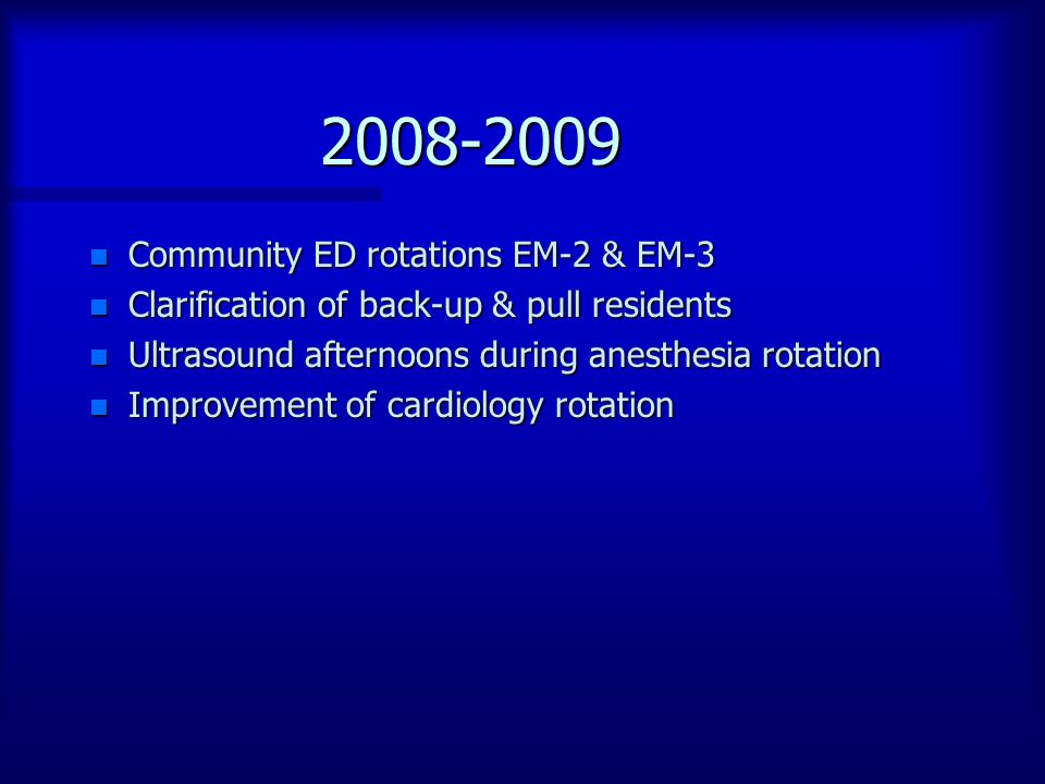 2008-2009 n Community ED rotations EM-2 & EM-3 n Clarification of back-up & pull residents n Ultrasound afternoons during anesthesia rotation n Improv
