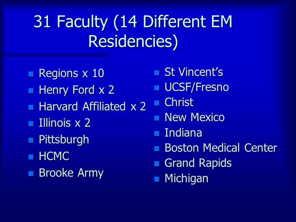 31 Faculty (14 Different EM Residencies) n Regions x 10 n Henry Ford x 2 n Harvard Affiliated x 2 n Illinois x 2 n Pittsburgh n HCMC n Brooke Army n St Vincent's n UCSF/Fresno n Christ n New Mexico n Indiana n Boston Medical Center n Grand Rapids n Michigan