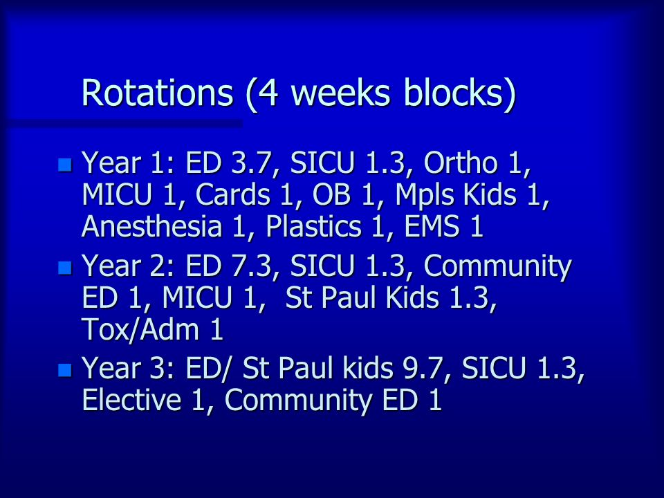 Rotations (4 weeks blocks) n Year 1: ED 3.7, SICU 1.3, Ortho 1, MICU 1, Cards 1, OB 1, Mpls Kids 1, Anesthesia 1, Plastics 1, EMS 1 n Year 2: ED 7.3, SICU 1.3, Community ED 1, MICU 1, St Paul Kids 1.3, Tox/Adm 1 n Year 3: ED/ St Paul kids 9.7, SICU 1.3, Elective 1, Community ED 1