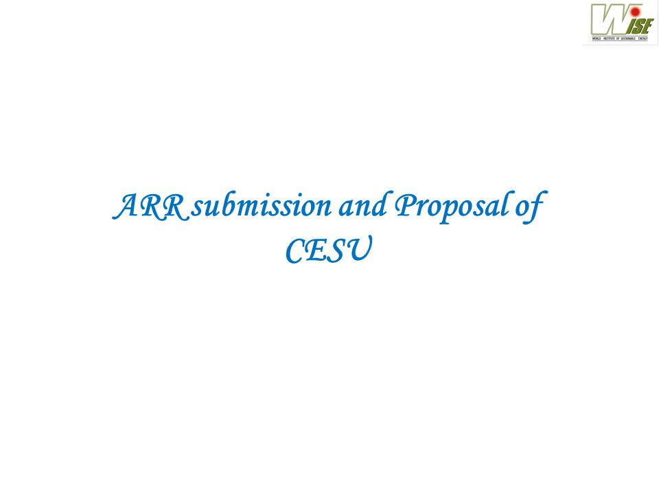 ARR submission and Proposal of CESU