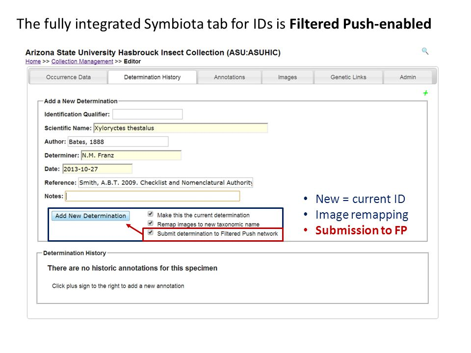The fully integrated Symbiota tab for IDs is Filtered Push-enabled New = current ID Image remapping Submission to FP