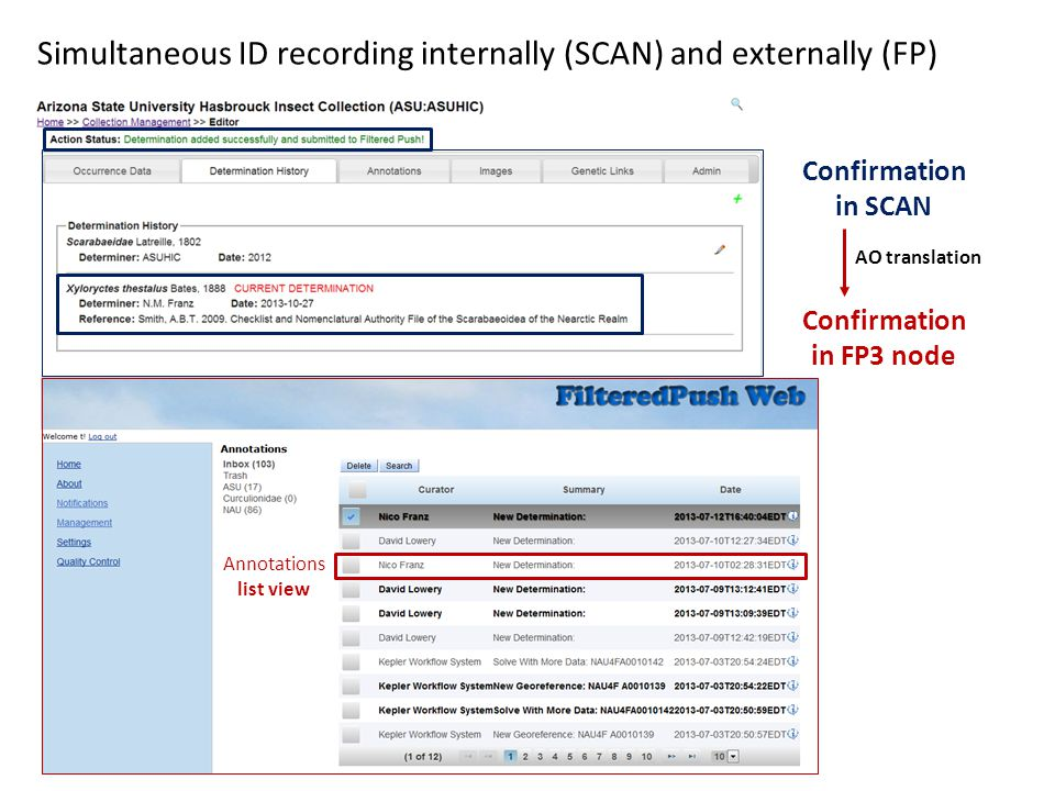 Confirmation in SCAN Confirmation in FP3 node Simultaneous ID recording internally (SCAN) and externally (FP) Annotations list view AO translation