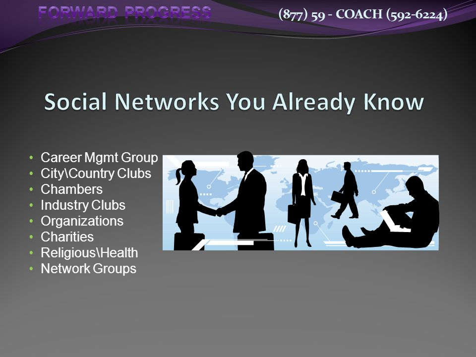 (877) 59 - COACH (592-6224) Career Mgmt Group City\Country Clubs Chambers Industry Clubs Organizations Charities Religious\Health Network Groups
