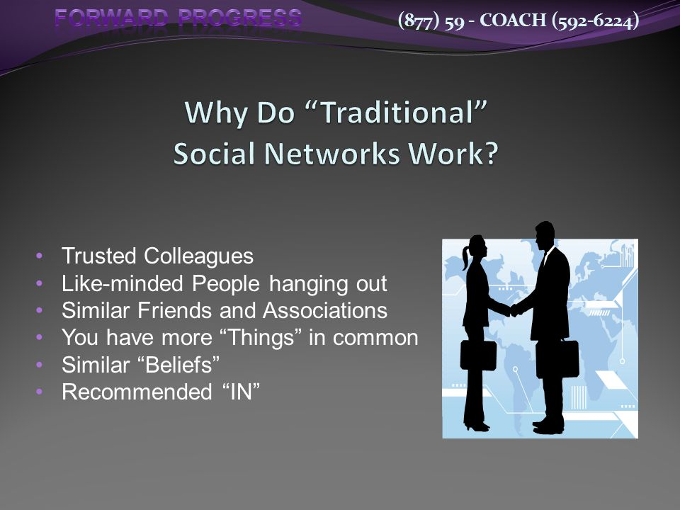 (877) 59 - COACH (592-6224) Trusted Colleagues Like-minded People hanging out Similar Friends and Associations You have more Things in common Similar Beliefs Recommended IN