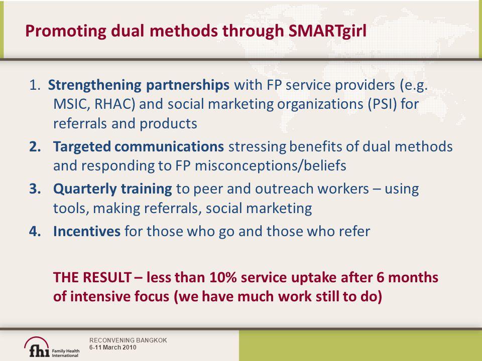 RECONVENING BANGKOK 6-11 March 2010 Promoting dual methods through SMARTgirl 1.