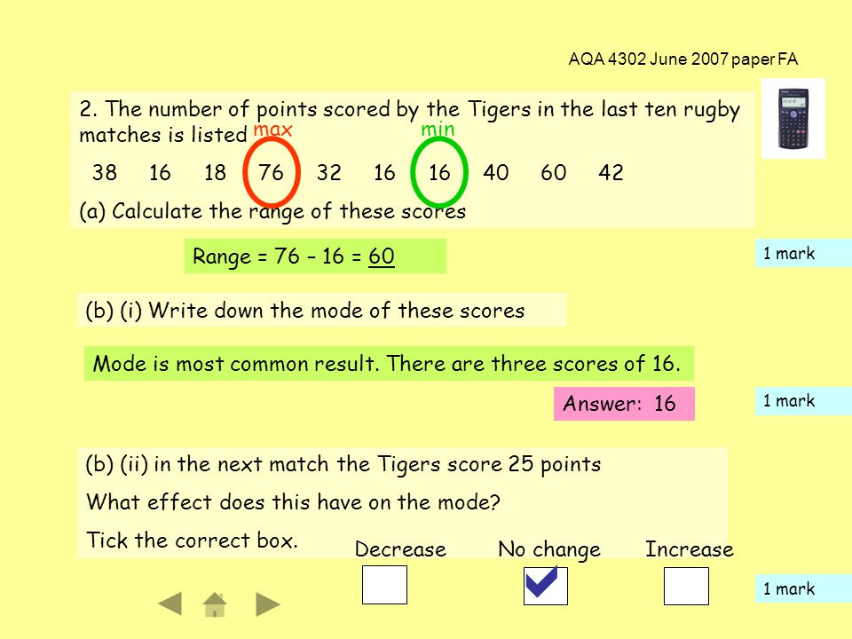 AQA 4302 June 2007 paper FA 3 2. The number of points scored by the Tigers in the last ten rugby matches is listed 38 16 18 76 32 16 16 40 60 42 (a) C