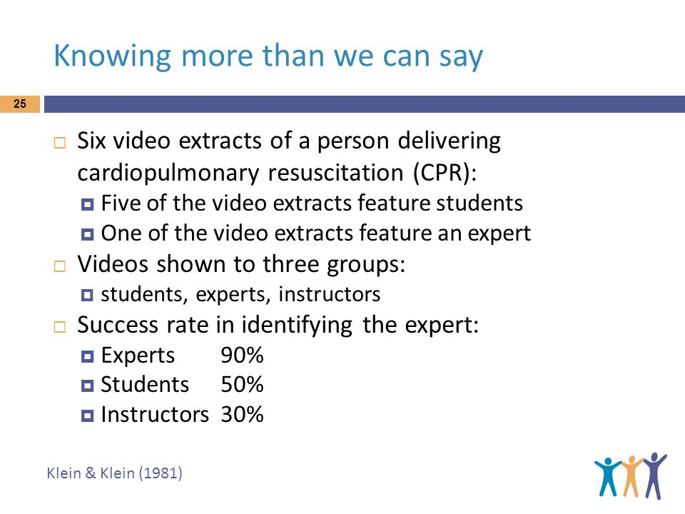 Knowing more than we can say 25  Six video extracts of a person delivering cardiopulmonary resuscitation (CPR):  Five of the video extracts feature students  One of the video extracts feature an expert  Videos shown to three groups:  students, experts, instructors  Success rate in identifying the expert:  Experts90%  Students50%  Instructors30% Klein & Klein (1981)
