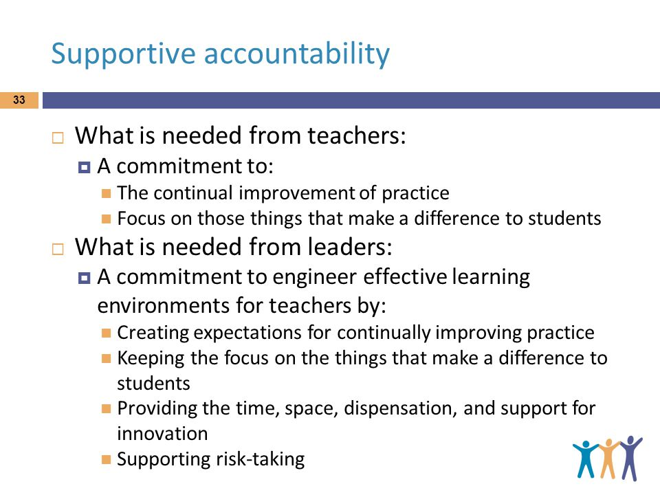 Supportive accountability  What is needed from teachers:  A commitment to: The continual improvement of practice Focus on those things that make a difference to students  What is needed from leaders:  A commitment to engineer effective learning environments for teachers by: Creating expectations for continually improving practice Keeping the focus on the things that make a difference to students Providing the time, space, dispensation, and support for innovation Supporting risk-taking 33