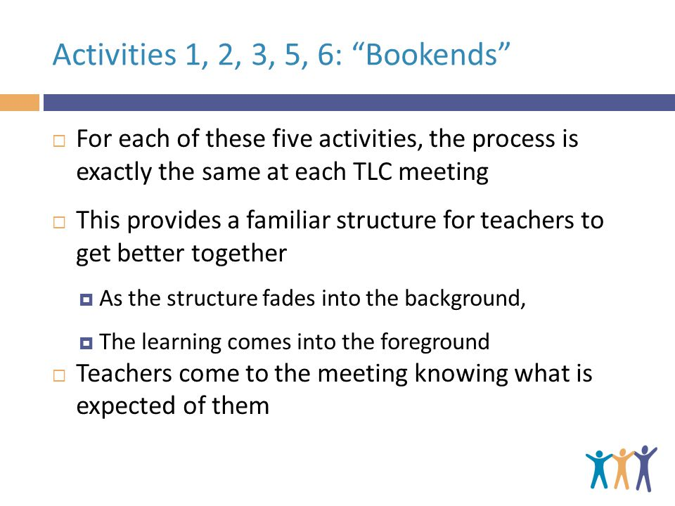 Activities 1, 2, 3, 5, 6: Bookends  For each of these five activities, the process is exactly the same at each TLC meeting  This provides a familiar structure for teachers to get better together  As the structure fades into the background,  The learning comes into the foreground  Teachers come to the meeting knowing what is expected of them