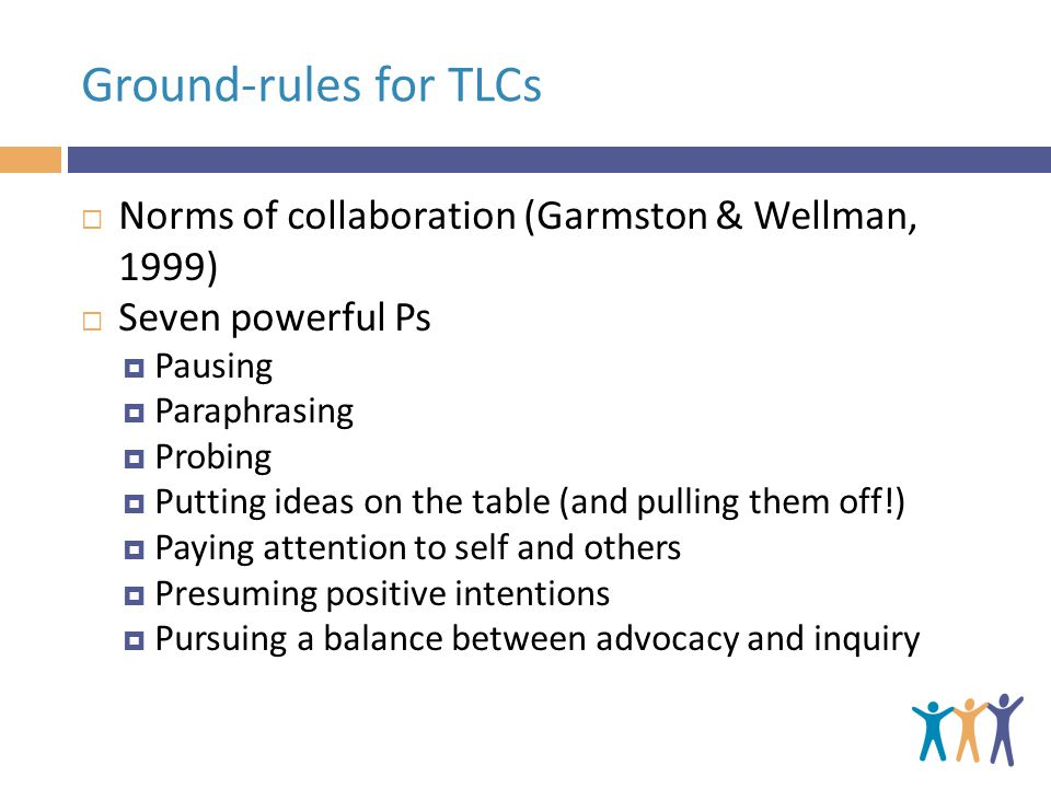 Ground-rules for TLCs  Norms of collaboration (Garmston & Wellman, 1999)  Seven powerful Ps  Pausing  Paraphrasing  Probing  Putting ideas on the table (and pulling them off!)  Paying attention to self and others  Presuming positive intentions  Pursuing a balance between advocacy and inquiry