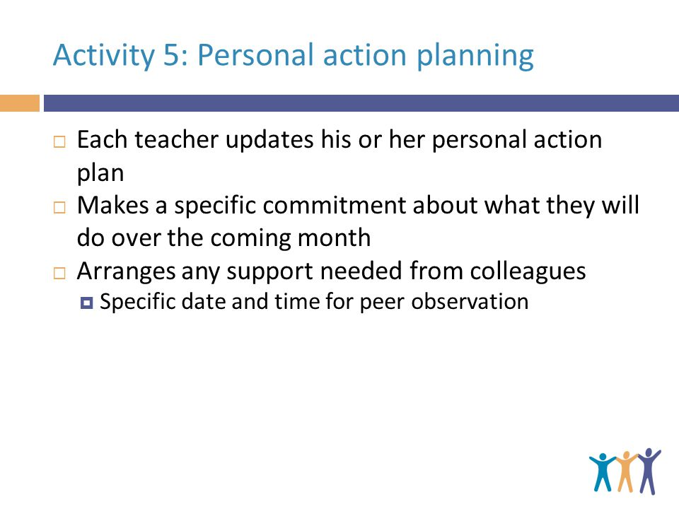 Activity 5: Personal action planning  Each teacher updates his or her personal action plan  Makes a specific commitment about what they will do over the coming month  Arranges any support needed from colleagues  Specific date and time for peer observation
