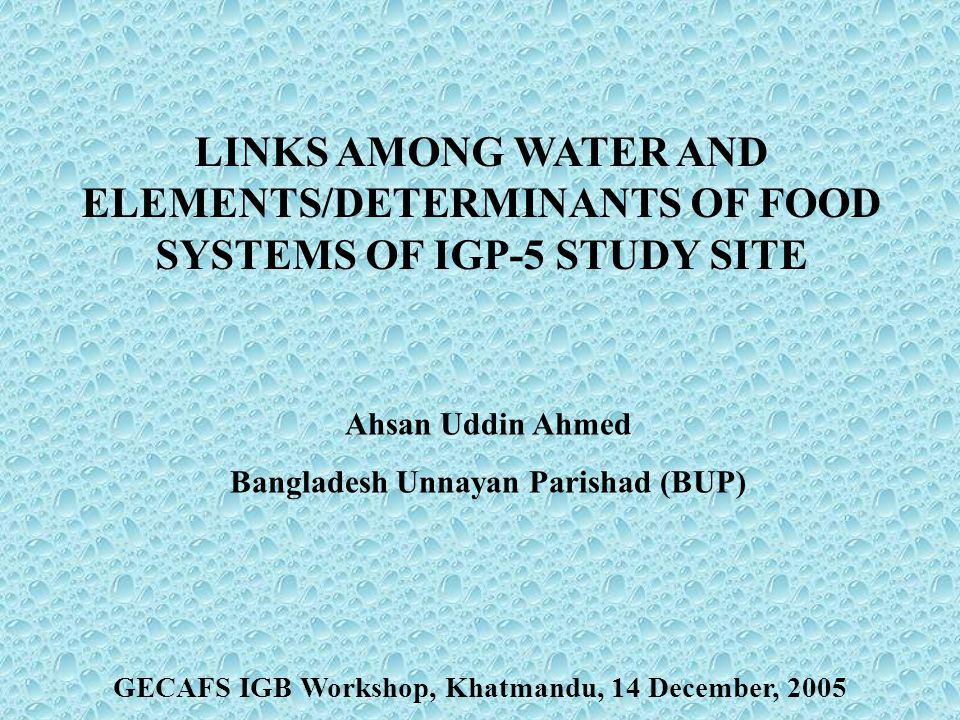 Kathmandu, 14 December 2005 Characteristics of eastern IGP Low productivity – food deficit Poor infrastructure and low use of capital inputs High risks of natural disasters: Flood vulnerability Labour out-migration (seasonal) IGP-5 falls in the Eastern IGP Water & FS Links