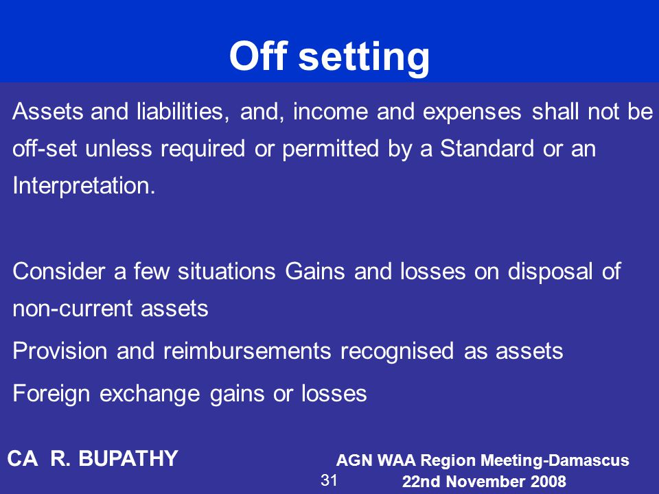 Off setting Assets and liabilities, and, income and expenses shall not be off-set unless required or permitted by a Standard or an Interpretation. Con