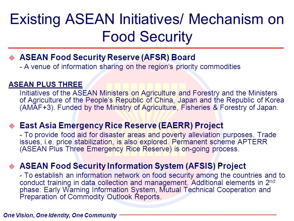 Existing ASEAN Initiatives/ Mechanism on Food Security  ASEAN Food Security Reserve (AFSR) Board - A venue of information sharing on the region's priority commodities ASEAN PLUS THREE Initiatives of the ASEAN Ministers on Agriculture and Forestry and the Ministers of Agriculture of the People's Republic of China, Japan and the Republic of Korea (AMAF+3).