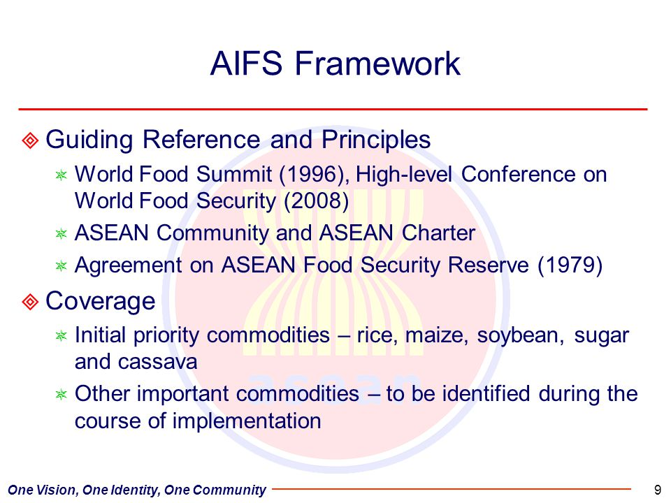 One Vision, One Identity, One Community9 AIFS Framework  Guiding Reference and Principles  World Food Summit (1996), High-level Conference on World Food Security (2008)  ASEAN Community and ASEAN Charter  Agreement on ASEAN Food Security Reserve (1979)  Coverage  Initial priority commodities – rice, maize, soybean, sugar and cassava  Other important commodities – to be identified during the course of implementation