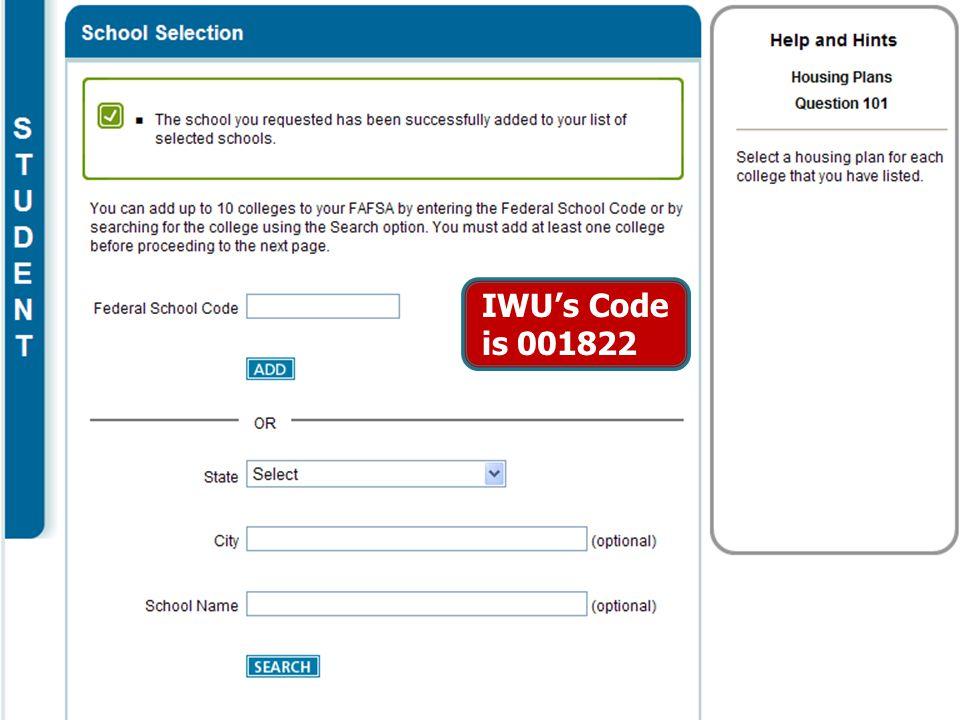 11 IWU's Code is 001822