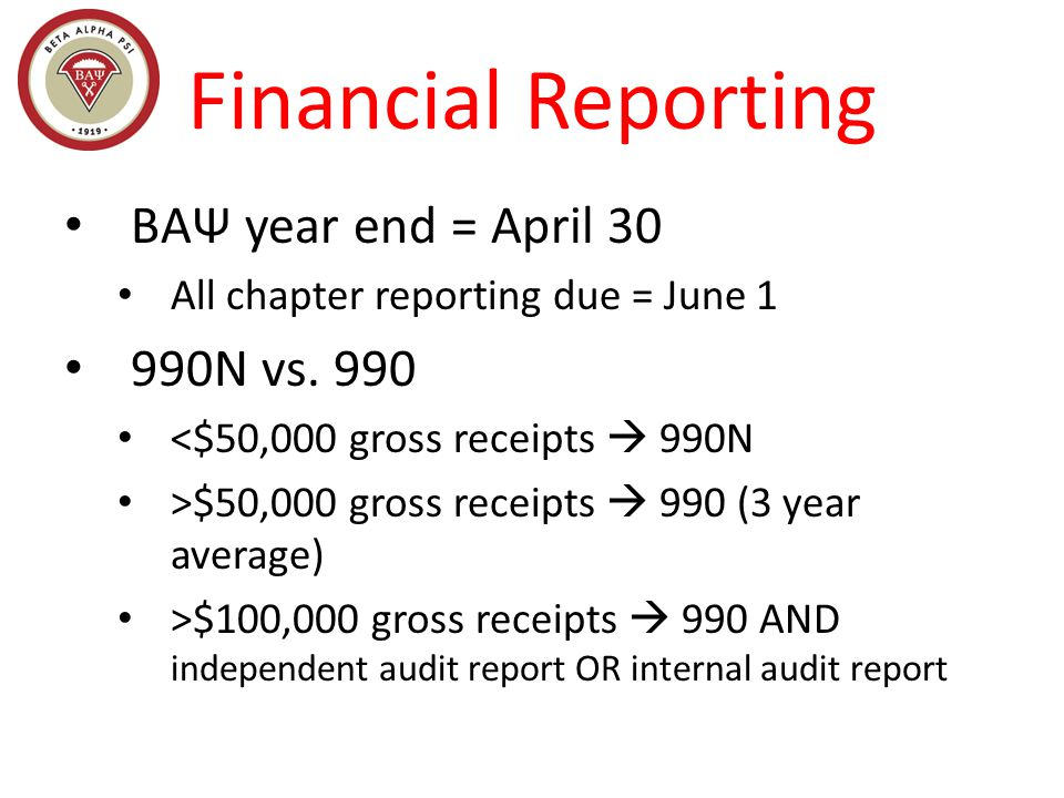 BAΨ year end = April 30 All chapter reporting due = June 1 990N vs.
