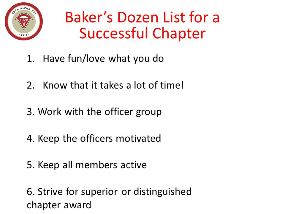 Baker's Dozen List for a Successful Chapter 7.