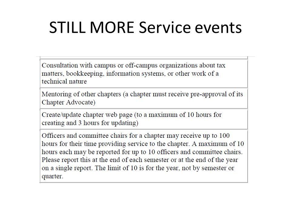 STILL MORE Service events