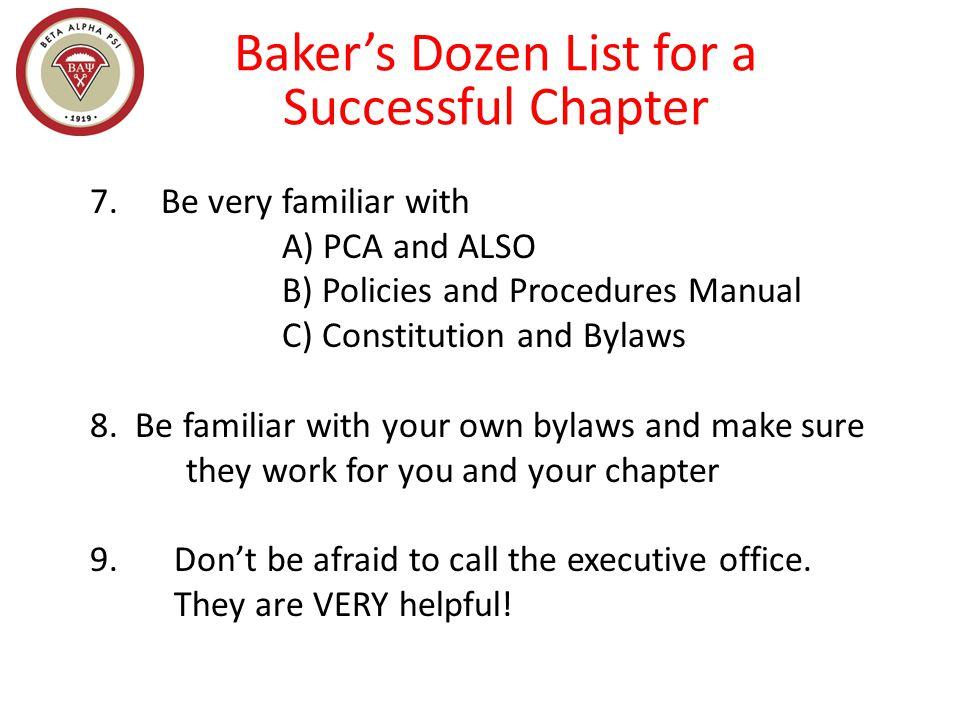Baker's Dozen List for a Successful Chapter 7.
