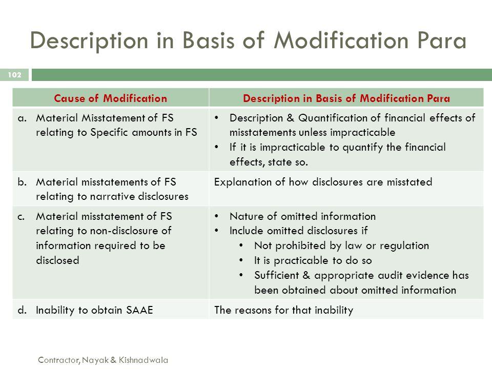 Description in Basis of Modification Para Contractor, Nayak & Kishnadwala 102 Cause of ModificationDescription in Basis of Modification Para a.Materia