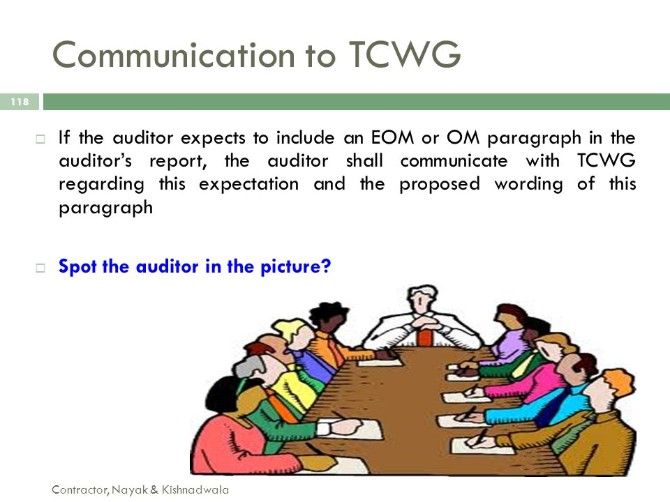 Communication to TCWG Contractor, Nayak & Kishnadwala 118  If the auditor expects to include an EOM or OM paragraph in the auditor's report, the audi