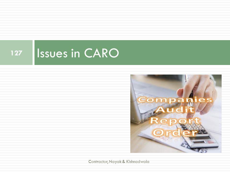 Issues in CARO 127 Contractor, Nayak & Kishnadwala