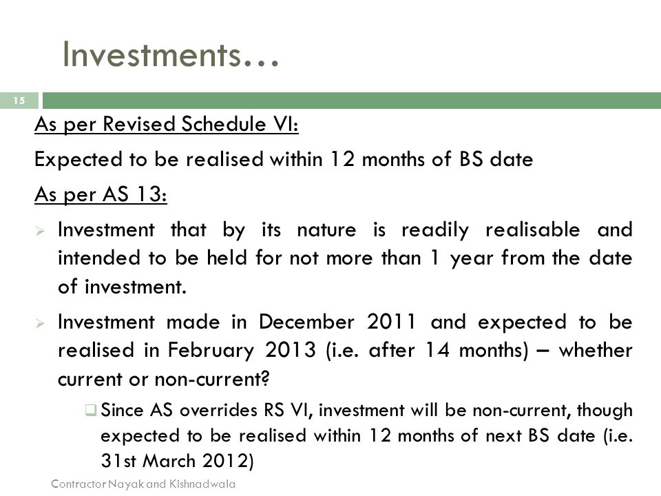 Investments… 15 As per Revised Schedule VI: Expected to be realised within 12 months of BS date As per AS 13:  Investment that by its nature is readi