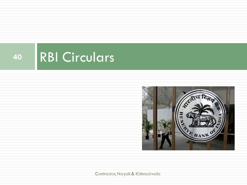 RBI Circulars 40 Contractor, Nayak & Kishnadwala