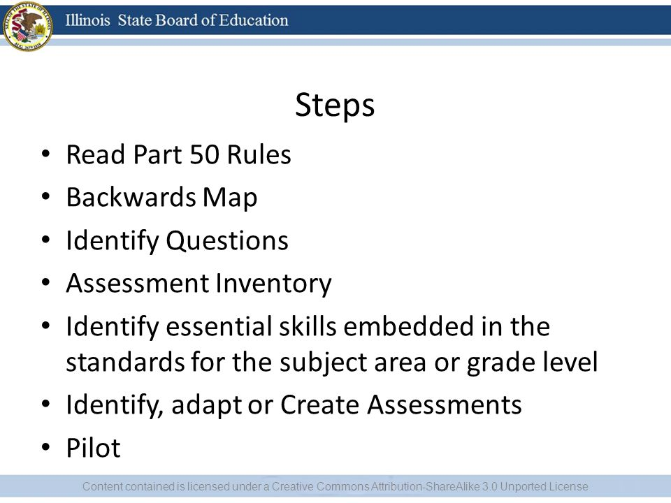 Steps Read Part 50 Rules Backwards Map Identify Questions Assessment Inventory Identify essential skills embedded in the standards for the subject area or grade level Identify, adapt or Create Assessments Pilot Content contained is licensed under a Creative Commons Attribution-ShareAlike 3.0 Unported License