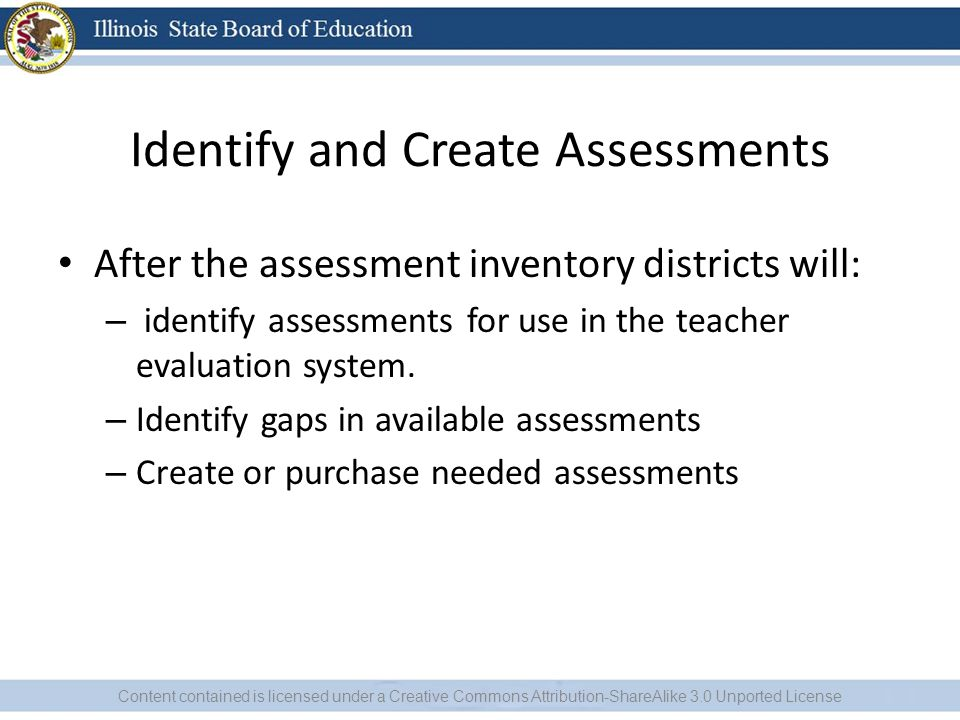 Identify and Create Assessments After the assessment inventory districts will: – identify assessments for use in the teacher evaluation system.
