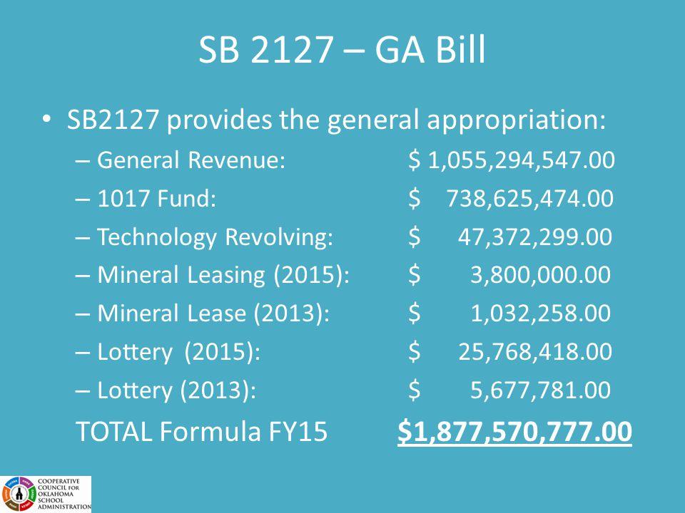 SB 2127 – GA Bill SB2127 provides the general appropriation: – General Revenue: $ 1,055,294,547.00 – 1017 Fund: $ 738,625,474.00 – Technology Revolving: $ 47,372,299.00 – Mineral Leasing (2015): $ 3,800,000.00 – Mineral Lease (2013): $ 1,032,258.00 – Lottery (2015): $ 25,768,418.00 – Lottery (2013): $ 5,677,781.00 TOTAL Formula FY15 $1,877,570,777.00