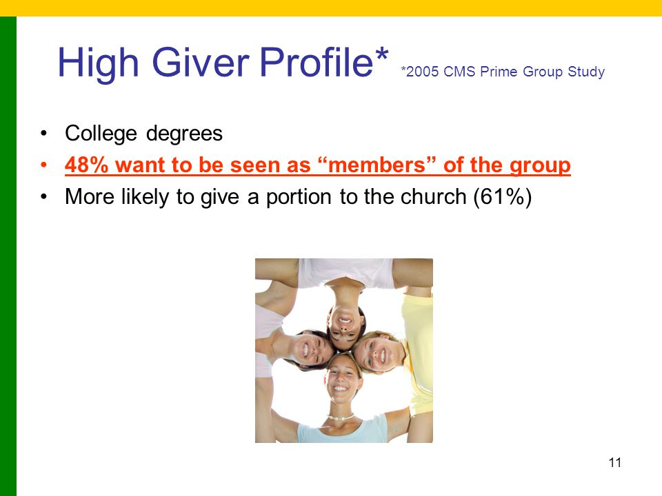 "11 High Giver Profile* *2005 CMS Prime Group Study College degrees 48% want to be seen as ""members"" of the group More likely to give a portion to the"