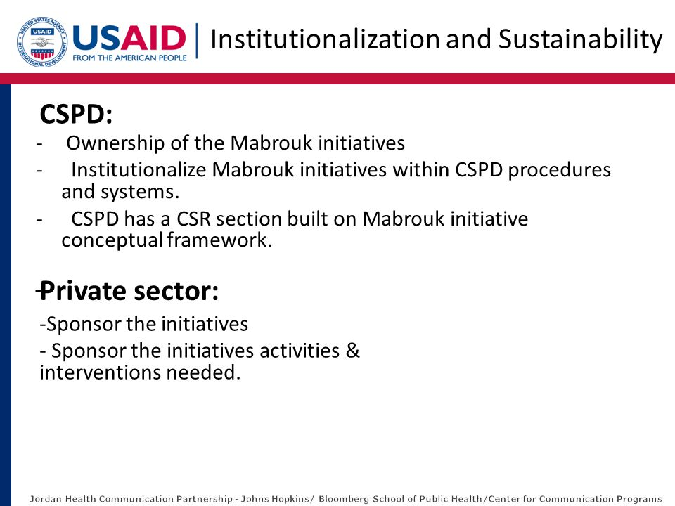 - Ownership of the Mabrouk initiatives - Institutionalize Mabrouk initiatives within CSPD procedures and systems. - CSPD has a CSR section built on Ma