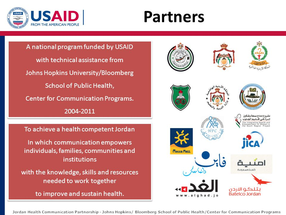 A national program funded by USAID with technical assistance from Johns Hopkins University/Bloomberg School of Public Health, Center for Communication
