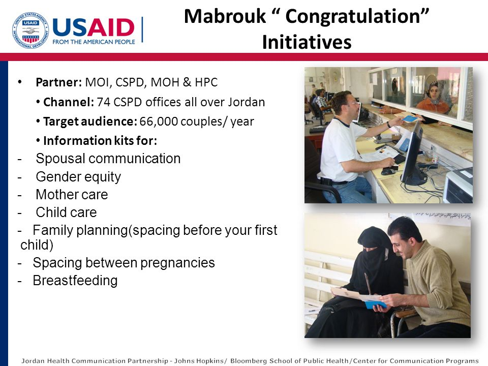 Partner: MOI, CSPD, MOH & HPC Channel: 74 CSPD offices all over Jordan Target audience: 66,000 couples/ year Information kits for: -Spousal communication -Gender equity -Mother care -Child care -Family planning(spacing before your first child) -Spacing between pregnancies -Breastfeeding Mabrouk Congratulation Initiatives